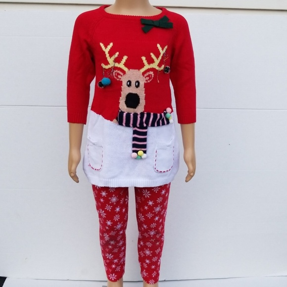 Blueberi Boulevard Girls Reindeer Legging Set